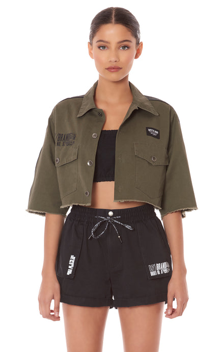 CROPPED SHORT SLEEVE CARGO JACKET