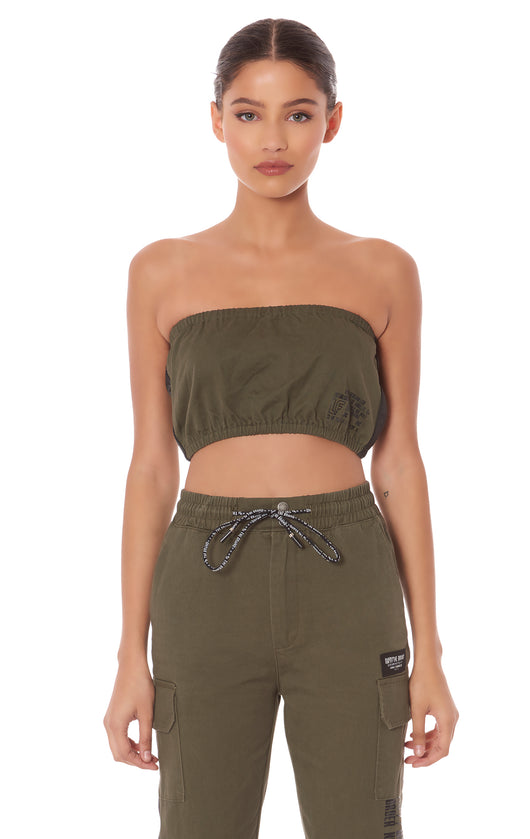 CARGO BANDEAU WITH TAPE AND SCREEN PRINT