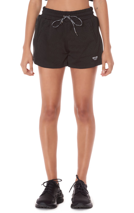 ATHLETIC MESH SHORT WITH BRANDED DRAWSTRING