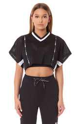 V NECK DOUBLE ZIP FRONT ATHLETIC MESH TOP