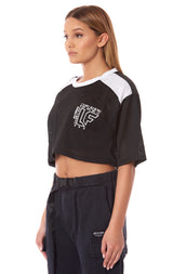 CONTRAST NECK AND SHOULDER ATHLETIC MESH TOP