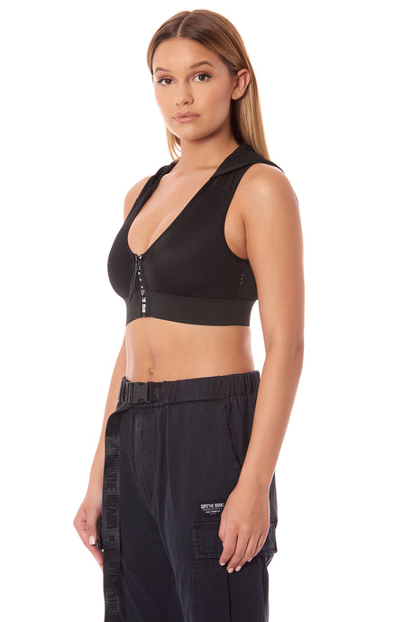 HOODED ZIP FRONT SLEEVELESS CROPPED TOP