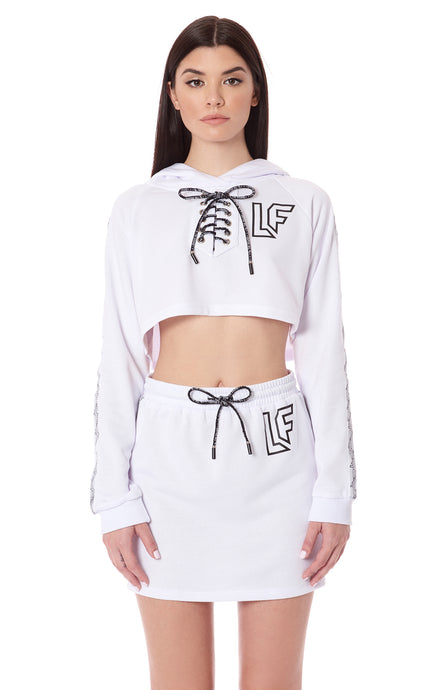 CROPPED LACE UP HOODIE WITH LF SCREEN PRINT AND TAPE