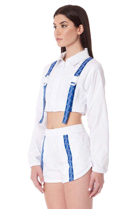 BUCKLE LF TAPE FRONT CROP WINDBREAKER JACKET