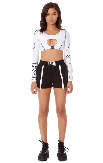 ZIPPER FRONT WINDBREAKER SHORT