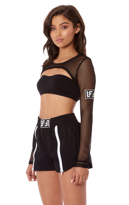 NIGHT RIDER ULTRA CROP LONG SLEEVE NETTING TOP