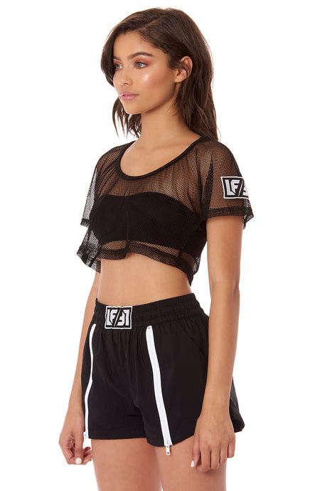 NIGHT RIDER CROPPED NETTING TEE WITH LF STONY PATCH