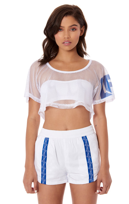 NETTING CROP TOP WITH LF SCREEN PRINT ON ARM