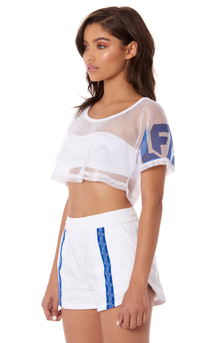 NIGHT RIDER NETTING CROP TOP WITH LF SCREEN PRINT ON ARM