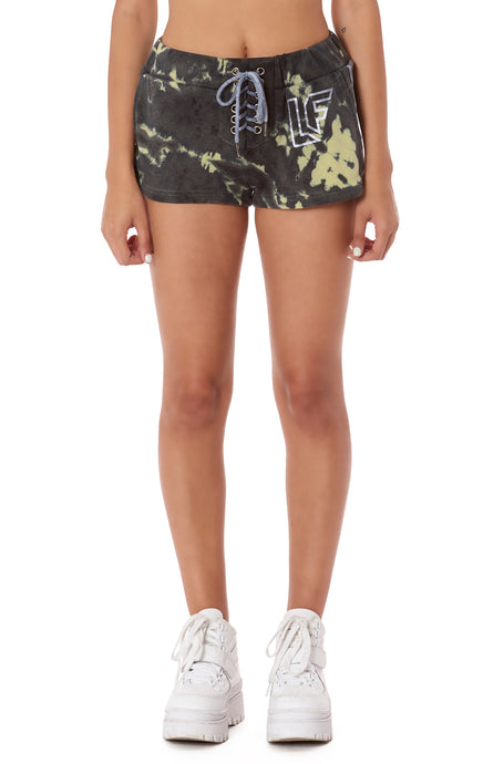 TRACKER LACE UP TIE DYE SHORT WITH TRACKER TAPE