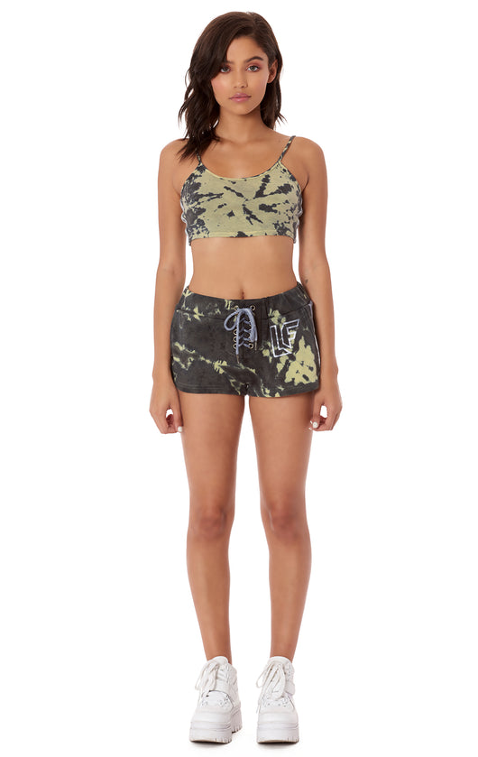 LACE UP TIE DYE SHORT WITH TRACKER TAPE