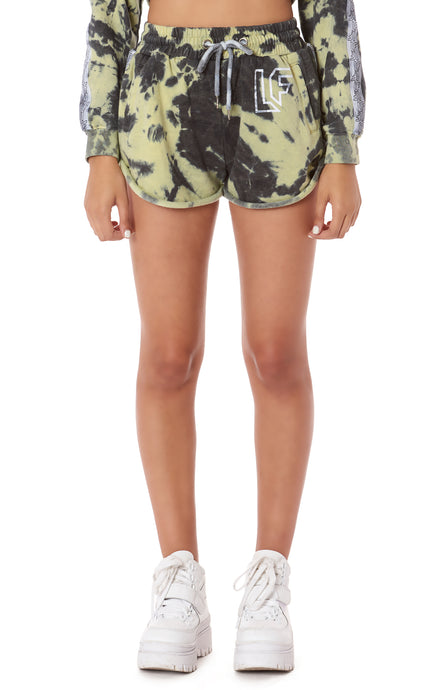 TRACKER HIGH RISE TIE DYE SHORT WITH TRACKER TAPE