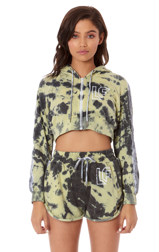 TRACKER TIE DYE ZIP UP CROP HOODIE