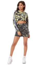 TRACKER TIE DYE KNIT SKIRT WITH TRACKER TAPE