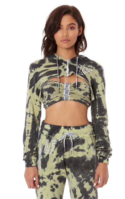 TIE DYE ULTRA CROP ZIP UP HOODIE