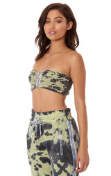 TIE DYE CINCHED TUBE TOP WITH TRACKER TAPE