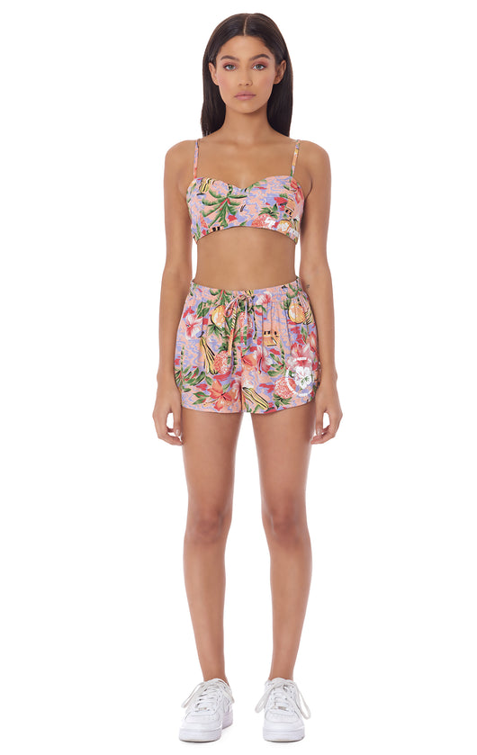 PARADISE NIGHT SIDE LATTICE SHORT