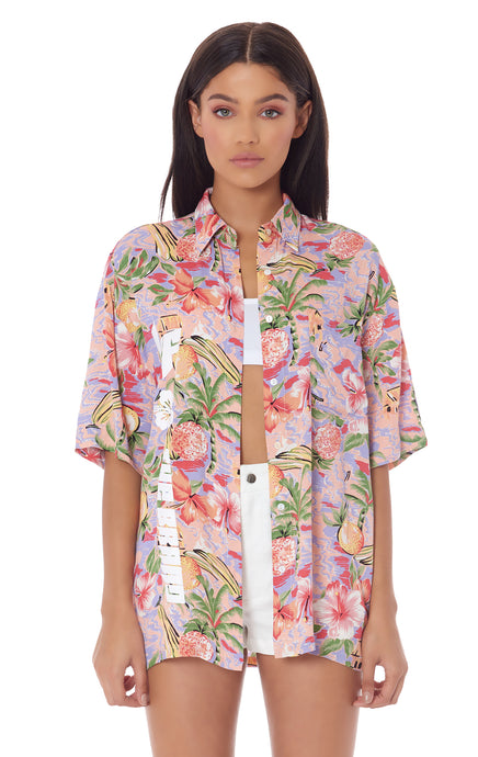 PARADISE NIGHT OVERSIZE CAMP SHIRT