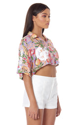 PARADISE NIGHT CROP CAMP SHIRT