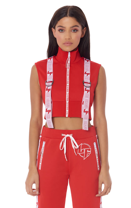 ATHLEISURE EDIT CROP SLEEVELESS JACKET WITH FRONT D-RING TAPE