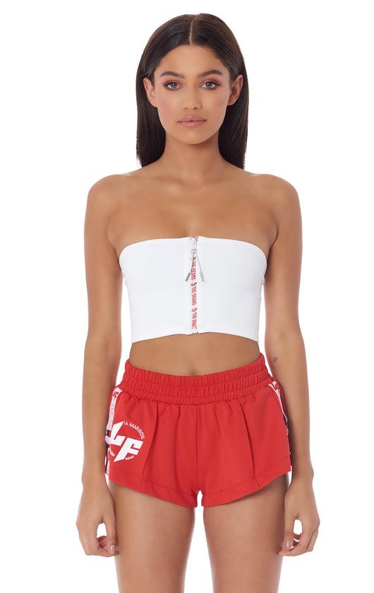 ATHLEISURE ZIP FRONT TUBE TOP