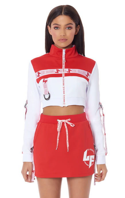 ATHLEISURE EDIT CROP COLORBLOCK TRACK JACKET WITH ARM D-RING TAPE