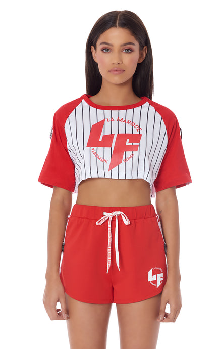 ATHLEISURE EDIT CROPPED BASEBALL SHIRT WITH LF SCREEN PRINT