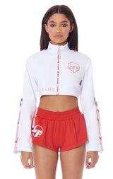 ATHLEISURE SUPER CROP TRACK JACKET WITH ARM D-RING TAPE