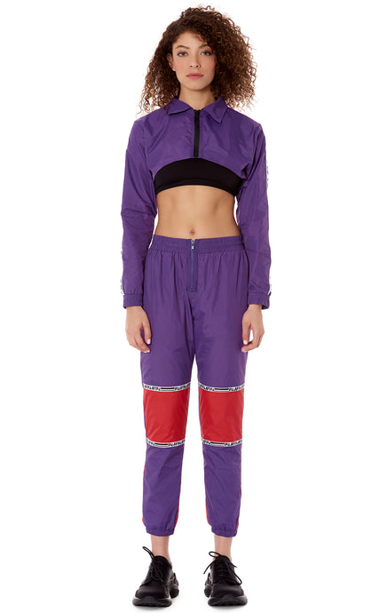 FRONT ZIP COLOR BLOCK WINDBREAKER PANT