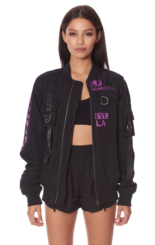 HARNESS BACK BOMBER JACKET WITH SCREEN PRINT
