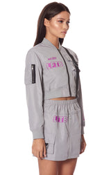 STRAP CROP BOMBER JACKET
