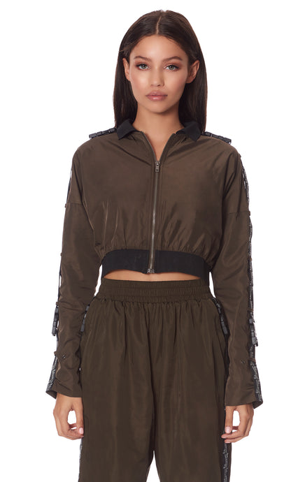 CROP RIBBED WINDBREAKER JACKET
