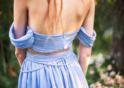 womens-two-piece-chiffon-pleated-set-blue-back