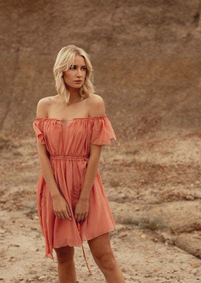 Sienna Off-Shoulder Lace Up Dress