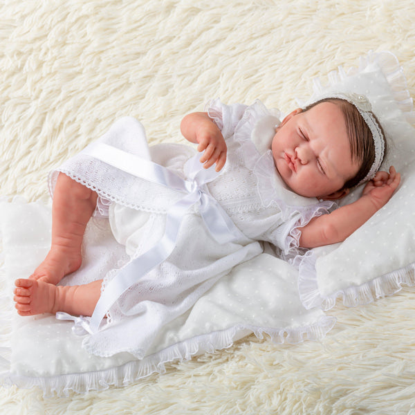 "Berenguer Classics 18"" Made by Hand Limited Edition Collectable featuring hand rooted hair and Elegant Christening Outfit- Reborn Baby Doll by JC Toys"