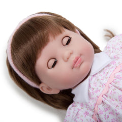 JC Toys Brunette Toddler Doll, 14-Inch Soft Body Doll Dressed in Pretty Pink Flower Dress. Open and close eyes.  Designed by BERENGUER for Children 3+.