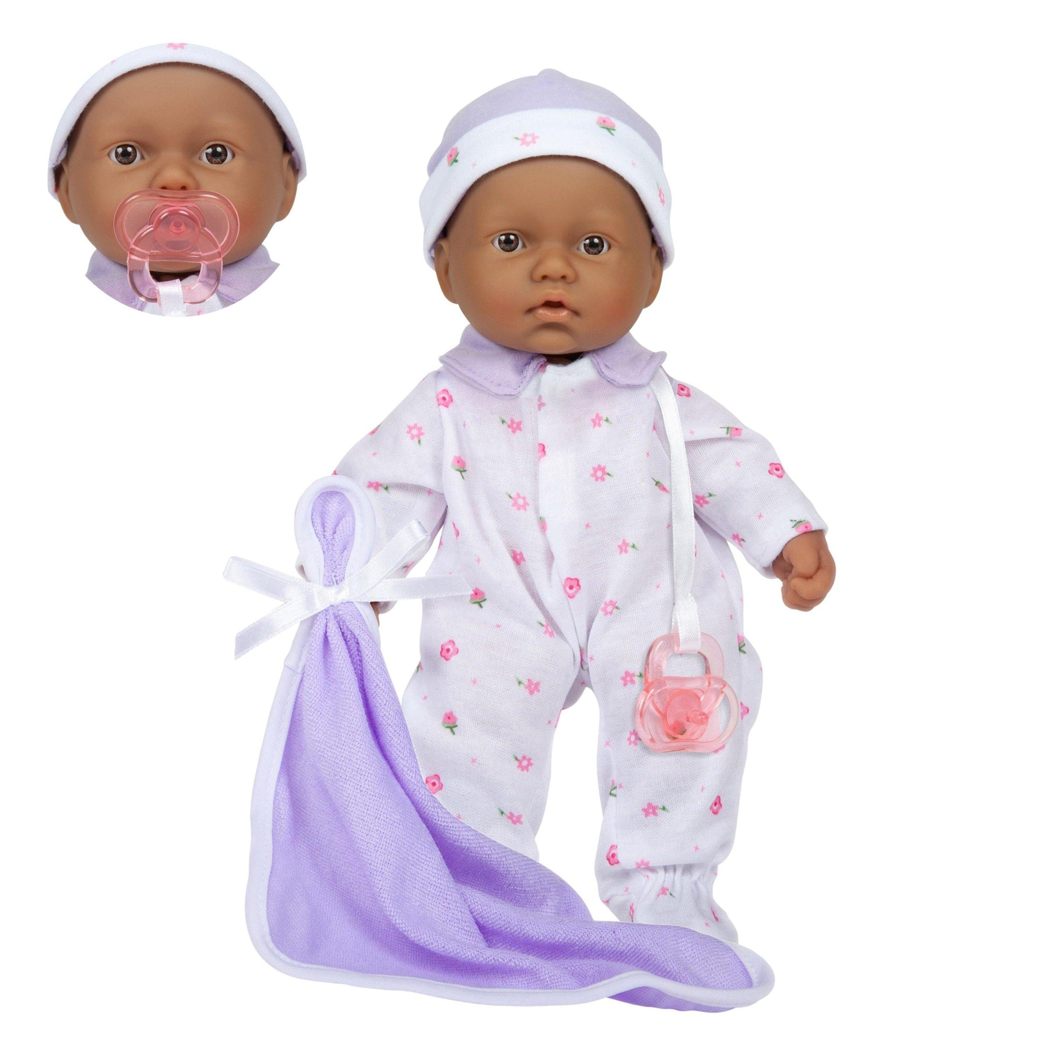 JC Toys, La Baby 11 inch Soft Body Hispanic Baby Doll in Purple Outfit