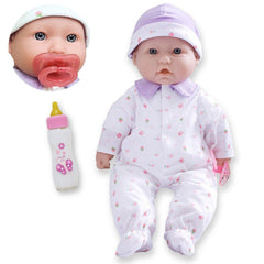 JC Toys, La Baby 16 inches Soft Body Baby Doll in Purple - Realistic Features