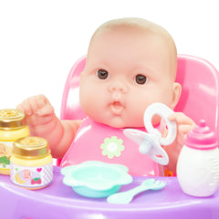 JC Toys, Lots to Love Babies 14 inches Baby Doll with High Chair and Accessories
