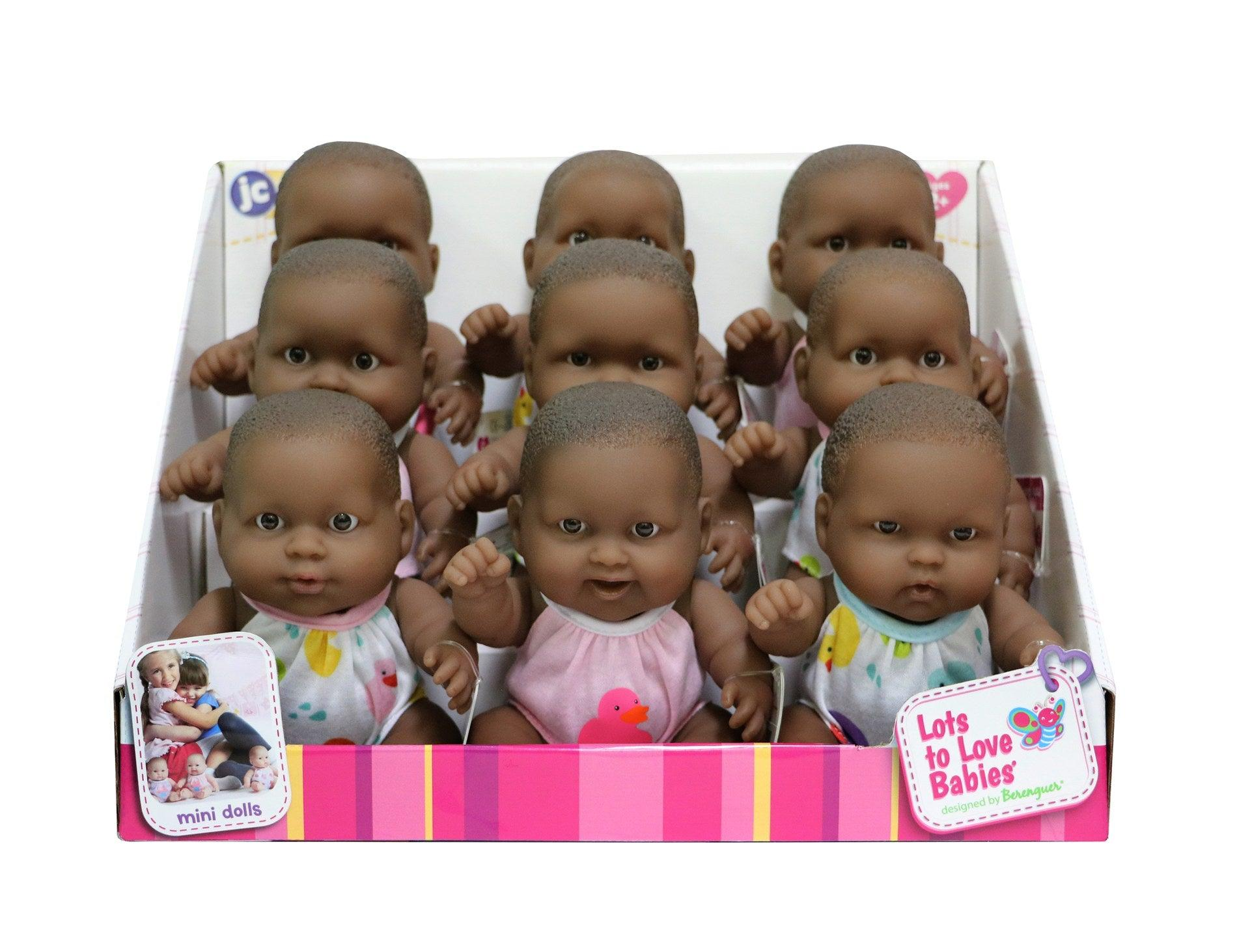 "Lots to Love Babies 8"" All Vinyl African American Bath Doll Assortment in PDQ"