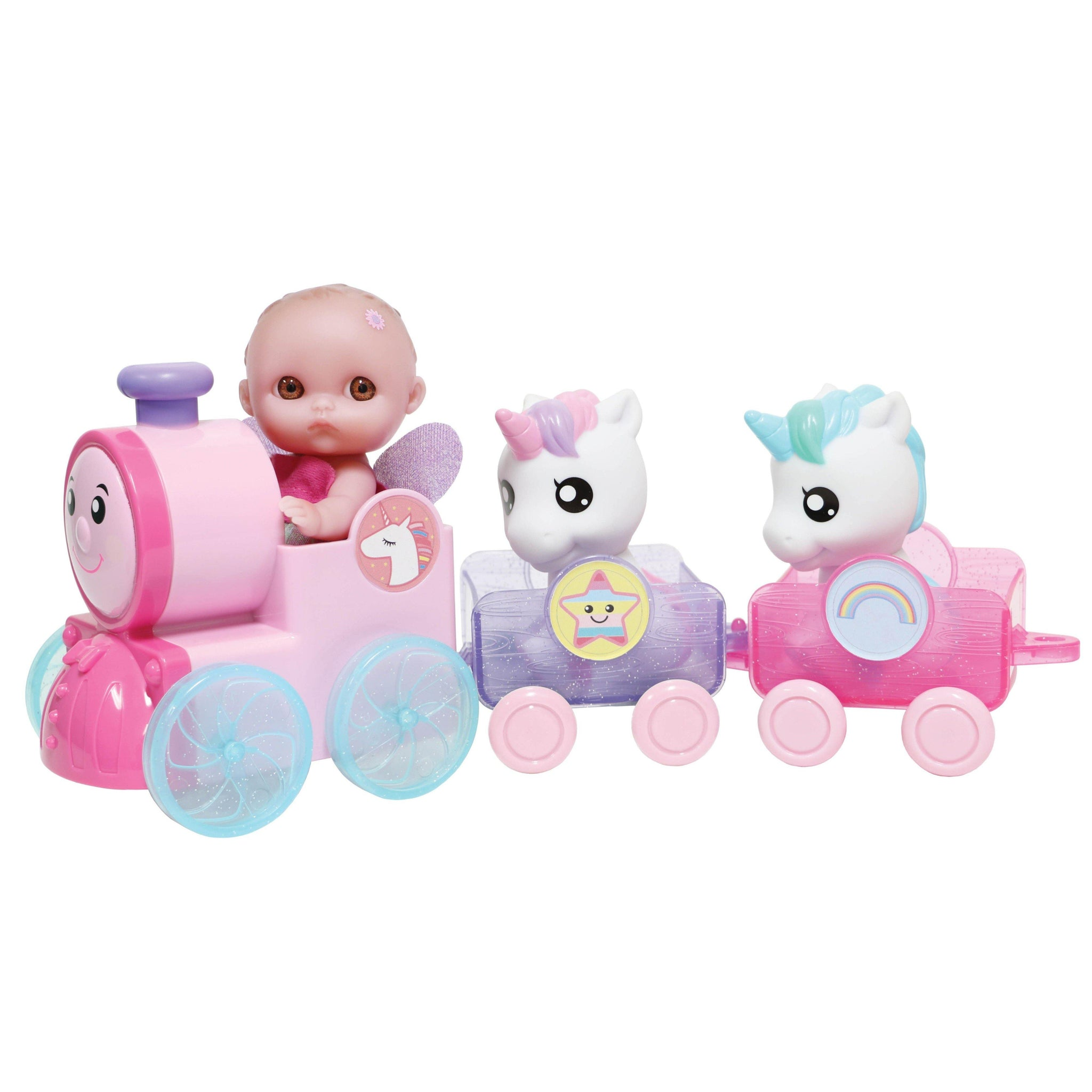 "JC Toys, Lil' Cutesies 5.5"" All Vinyl Doll Unicorn Train Set"