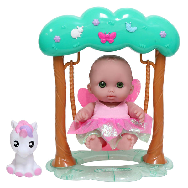 "JC Toys, Fairy Swing Set featuring Lil' Cutesies 8.5""All Vinyl Doll and her Unicorn Friend"