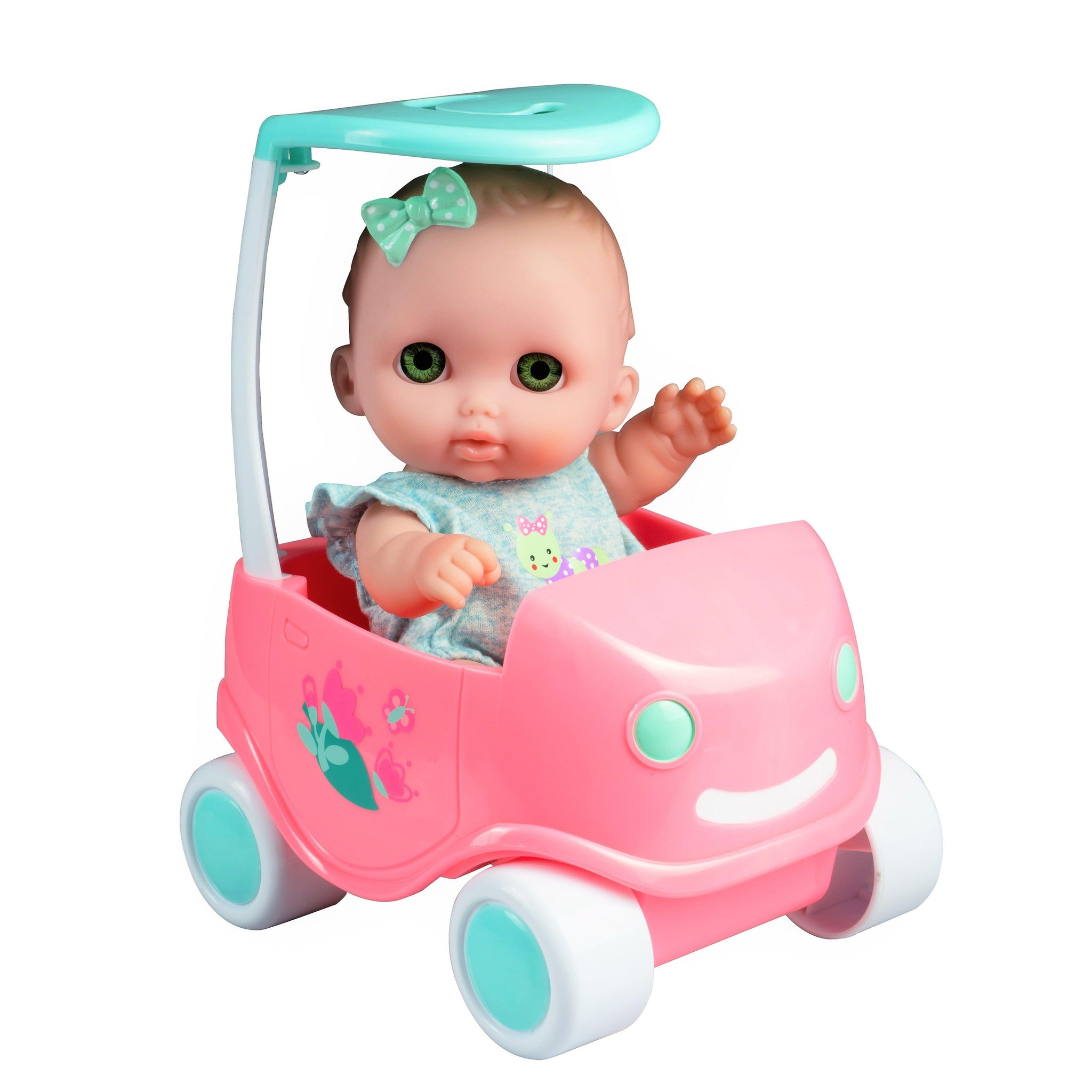 "Lil' Cutesies with Cute Buggy Set - 8.5"" All vinyl Washable Baby Doll for children 2+"