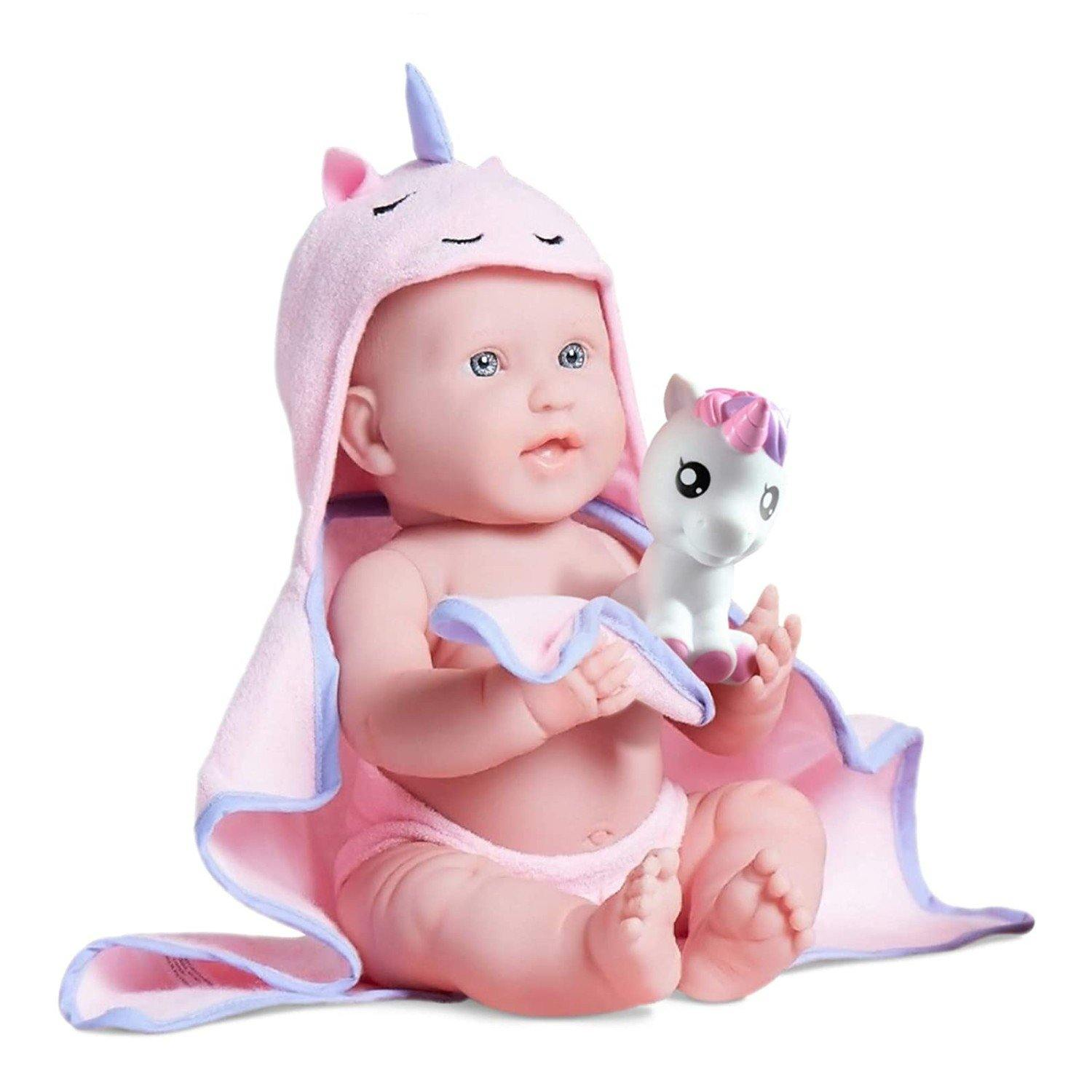 "JC Toys, La Newborn Baby Doll, All Vinyl Realistic 17"" Anatomically Correct Real Girl, with Hooded Unicorn Towel"