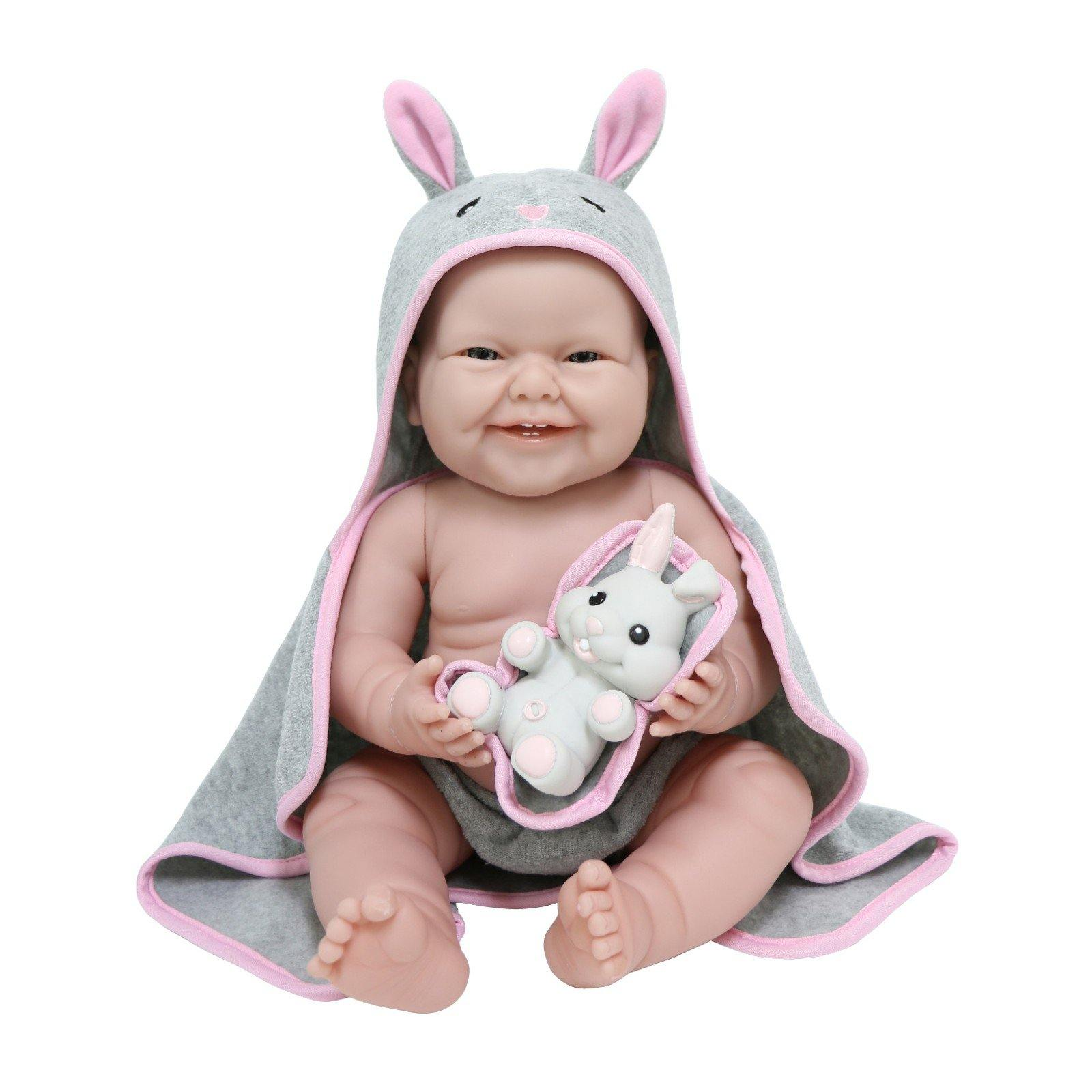 "JC Toys, La Newborn Baby Doll, All Vinyl Realistic 17"" Anatomically Correct Real Girl, with Hooded Rabbit Towel"