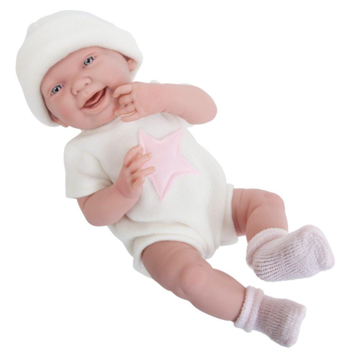 JC Toys, La Newborn All Vinyl 15in Real Girl Baby Doll-White w/Pink Star Outfit