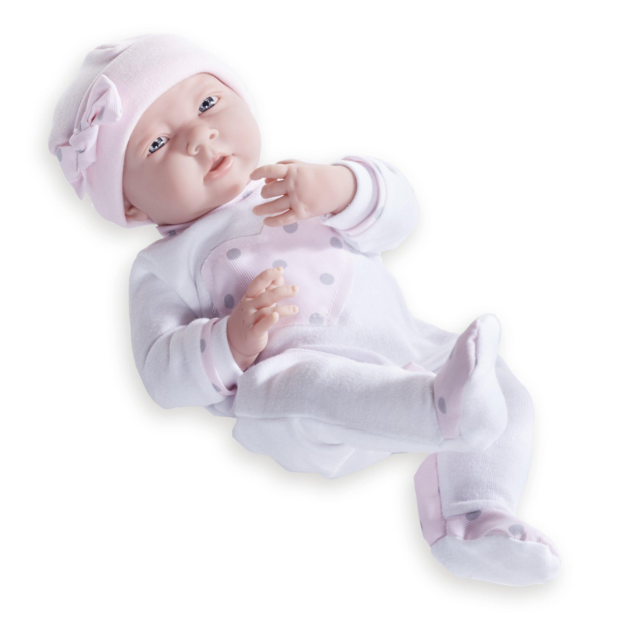 JC Toys, La Newborn 15in Real Girl Baby Doll in Cuddly Pink Heart Pajamas