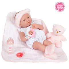 JC Toys,La Newborn All-Vinyl Real Girl 15in Baby Doll-White Outfit & Accessories