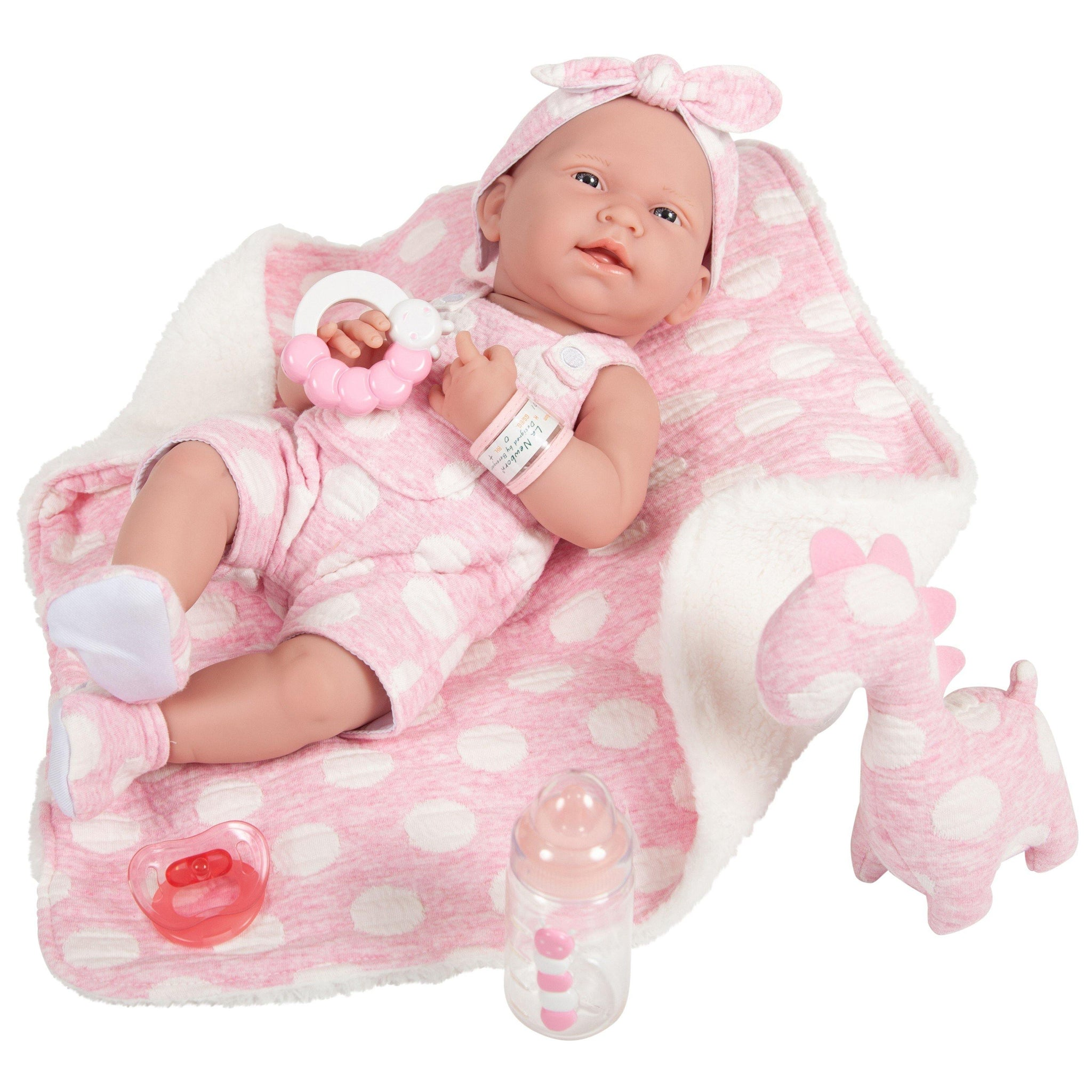 JC Toys, La Newborn AllVinyl Real Girl 15in Baby Doll-Pink with White Polka Dots