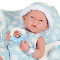 JC Toys, La Newborn AllVinyl Real Boy 15 in Baby Doll-Blue with White Polka Dots